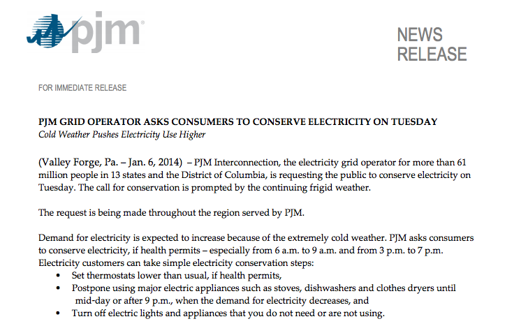 PJM GRID OPERATOR ASKS CONSUMERS TO CONSERVE ELECTRICITY ON TUESDAY